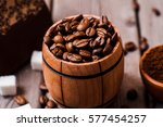 barrel coffee.coffee powder and ... | Shutterstock . vector #577454257
