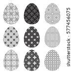 set of black and white eggs... | Shutterstock .eps vector #577456075
