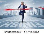 businessman on the finishing... | Shutterstock . vector #577464865