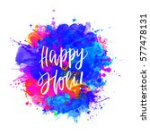 watercolor happy holi and... | Shutterstock .eps vector #577478131