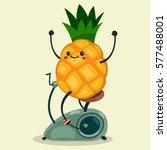 cute pineapple makes exercise... | Shutterstock .eps vector #577488001