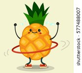 cute pineapple cartoon... | Shutterstock .eps vector #577488007