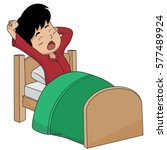 kid wake up in the morning... | Shutterstock .eps vector #577489924