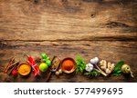 various herbs and spices on... | Shutterstock . vector #577499695
