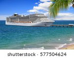 luxury cruise ship at pier on...   Shutterstock . vector #577504624