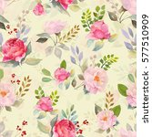 watercolor floral roses pattern ...   Shutterstock . vector #577510909