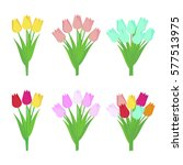 set of tulip flowers bouquets... | Shutterstock .eps vector #577513975