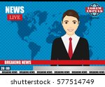 anchorman on tv broadcast news. ... | Shutterstock .eps vector #577514749