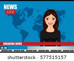 newscaster woman reports... | Shutterstock .eps vector #577515157