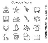 cowboy icons set in thin line...