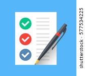 document with checkmarks and... | Shutterstock .eps vector #577534225