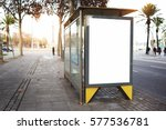 Small photo of Blank electronic advertising board with empty copy space screen for your text message or promotional content, clear banner in urban setting, empty poster on a bus stop, public information billboard