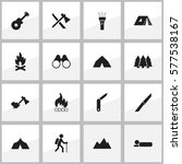 set of 16 editable trip icons.... | Shutterstock .eps vector #577538167