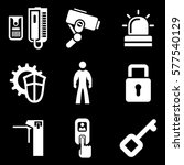 security white icons on black... | Shutterstock .eps vector #577540129