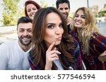 group of friends taking selfie... | Shutterstock . vector #577546594