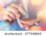 smartphone in hands of...   Shutterstock . vector #577548865