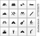 set of 16 editable travel icons.... | Shutterstock .eps vector #577555075