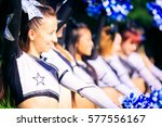 cheerleader team practicing | Shutterstock . vector #577556167