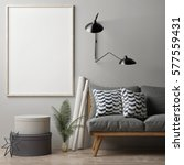 blank poster on grey wall ... | Shutterstock . vector #577559431