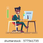 handsome young black... | Shutterstock .eps vector #577561735