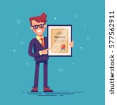 handsome successful businessman ... | Shutterstock .eps vector #577562911