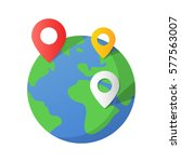 planet earth and map pins icon. ... | Shutterstock .eps vector #577563007