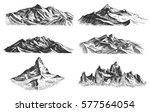 big set of mountains peaks ... | Shutterstock .eps vector #577564054