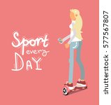 pretty girl on pink scooter.... | Shutterstock .eps vector #577567807