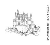 castle landmark sketch... | Shutterstock .eps vector #577576114