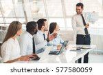 attractive business people in... | Shutterstock . vector #577580059