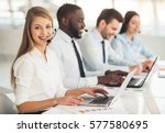 attractive business people in... | Shutterstock . vector #577580695
