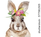 watercolor rabbit portrait with ... | Shutterstock . vector #577581505