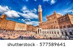 siena  italy   apr 6  tourists... | Shutterstock . vector #577589641