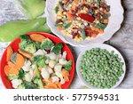 frozen vegetables  quick frozen ... | Shutterstock . vector #577594531