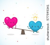 cute hearts  the relationship... | Shutterstock .eps vector #577595341