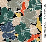 seamless pattern with tropical... | Shutterstock . vector #577599355