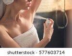 beautiful girl in bath towel is ... | Shutterstock . vector #577603714