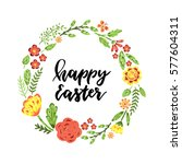 happy easter.hand drawn poster... | Shutterstock .eps vector #577604311