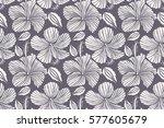 hand drawn seamless flower...   Shutterstock . vector #577605679