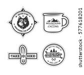 set of hiking labels with... | Shutterstock .eps vector #577618201