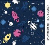 vector flat space seamless... | Shutterstock .eps vector #577626514