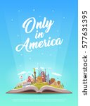 travel to north america. road... | Shutterstock .eps vector #577631395