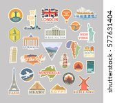 collection of vector stickers... | Shutterstock .eps vector #577631404