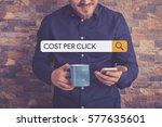 cost per click concept | Shutterstock . vector #577635601