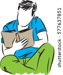 young man reading a book... | Shutterstock .eps vector #577637851