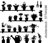 flower plant pot silhouette...   Shutterstock .eps vector #57764188