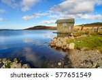 an old stone boat house on the...