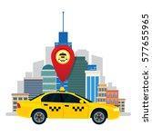 taxi service. the car taxi on... | Shutterstock .eps vector #577655965