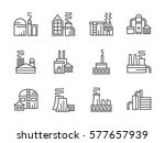 industrial factories. set line... | Shutterstock .eps vector #577657939