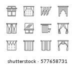 curtains for stylish interior.... | Shutterstock .eps vector #577658731